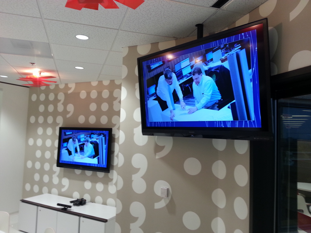 audio/visual displays at company offices