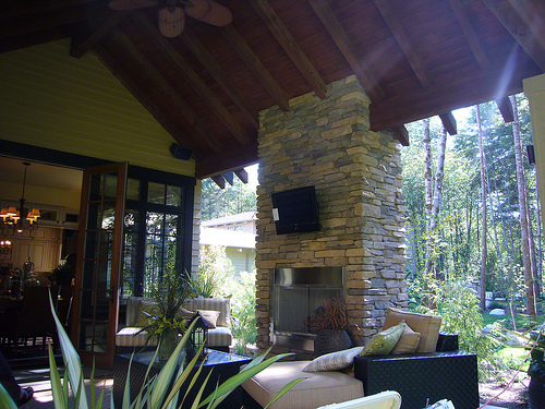 home patio with audio video design and installation