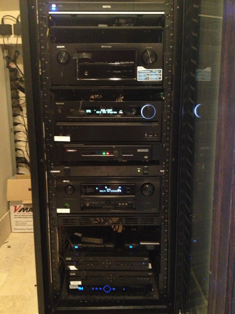home audio/video organization rack with electronic components
